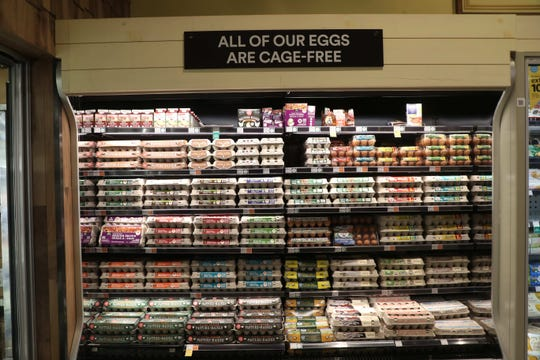 All eggs served and sold in Whole Foods stores are cage-free.