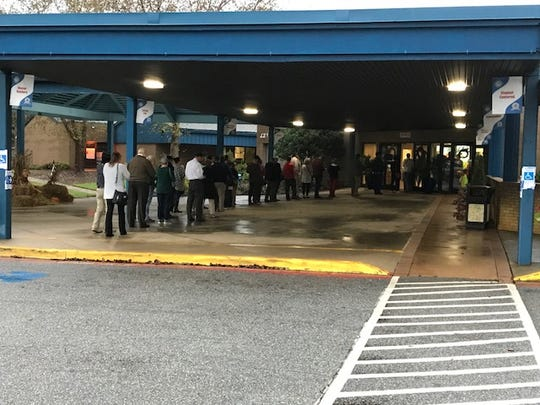 A line of voters nearly reaches the front parking lot of Buena Vista Elementary School in Greenville County.