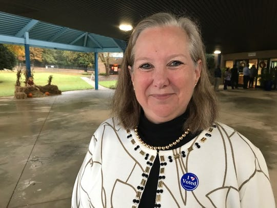 Julia Turlington, of Greer, votes in the 2018 midterm elections at Buena Vista Elementary School.
