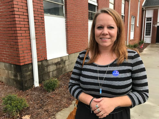 """Hope Lineberry voted Tuesday, Nov. 6, 2018, morning at the Mauldin Cultural Center. She voted, she said, """"because I care about my community."""" Lineberry said she avoids voting straight ticket in general but tended toward Republican this time."""