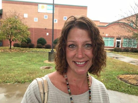 Corri Epps voted at Taylors Elementary School.