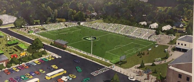 Rendering by  McMillan Pazdan Smith Architects of Greenville Triumph's temporary stadium at Legacy Early College.