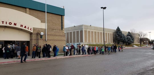 Lines at the polls at 3:55 p.m. Tuesday outside of the Exhibition Hall at Montana ExpoPark.