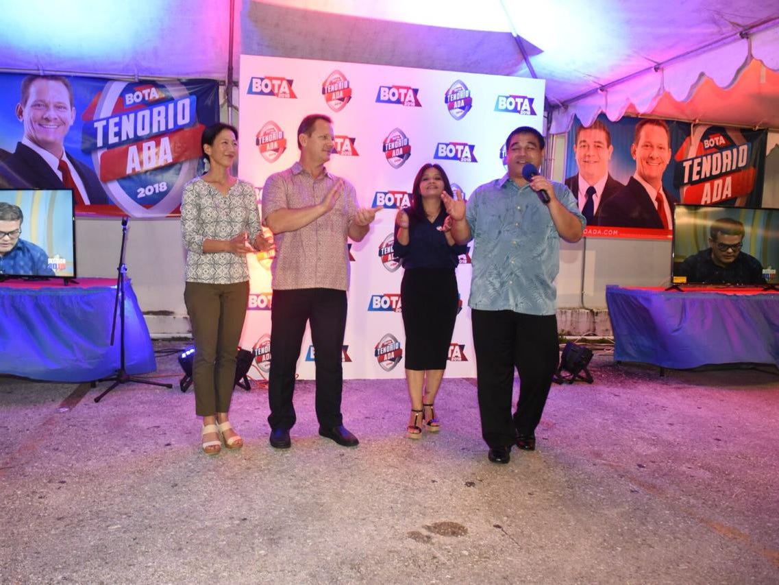 Tony Ada addresses BOTA supporters at the Tenorio-Ada headquarters.