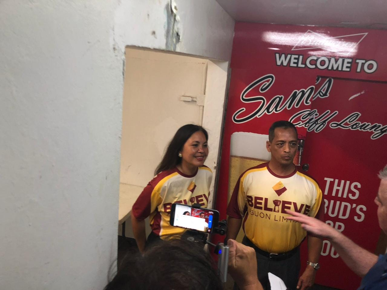 Write-in candidates Frank Aguon Jr and Alicia Limtiaco arrive at their election night headquarters at the Cliff Hotel in Agana Heights.