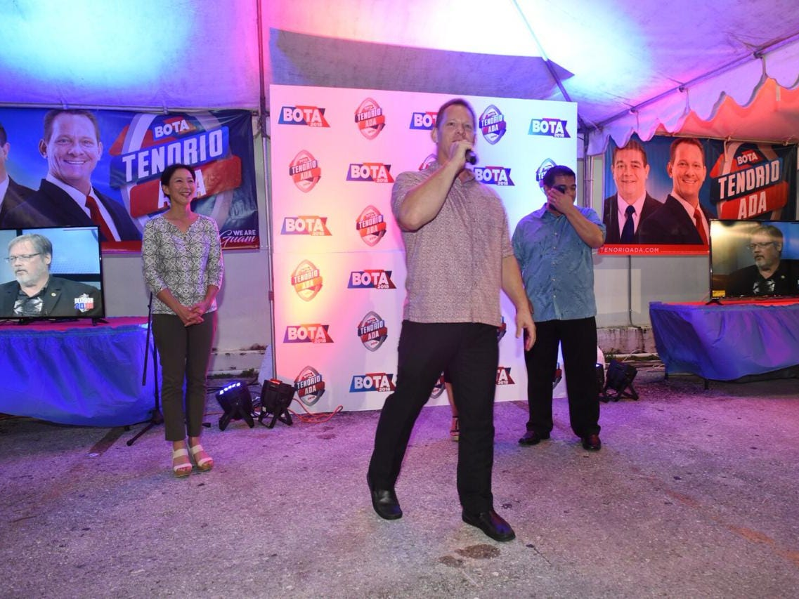 Lt. Gov Ray Tenorio addresses BOTA supporters at the Tenorio-Ada headquarters.