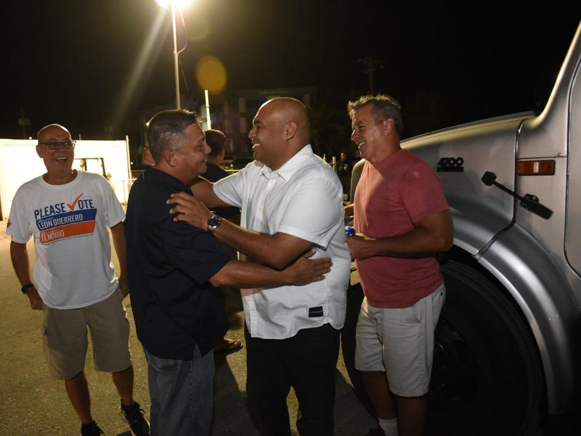 Democratic candidate for Lt Gov, Joshua Tenorio is greeted by supporters after arriving to the Leon Guerrero-Tenorio campaign headquarters in Hagåtña tonight.