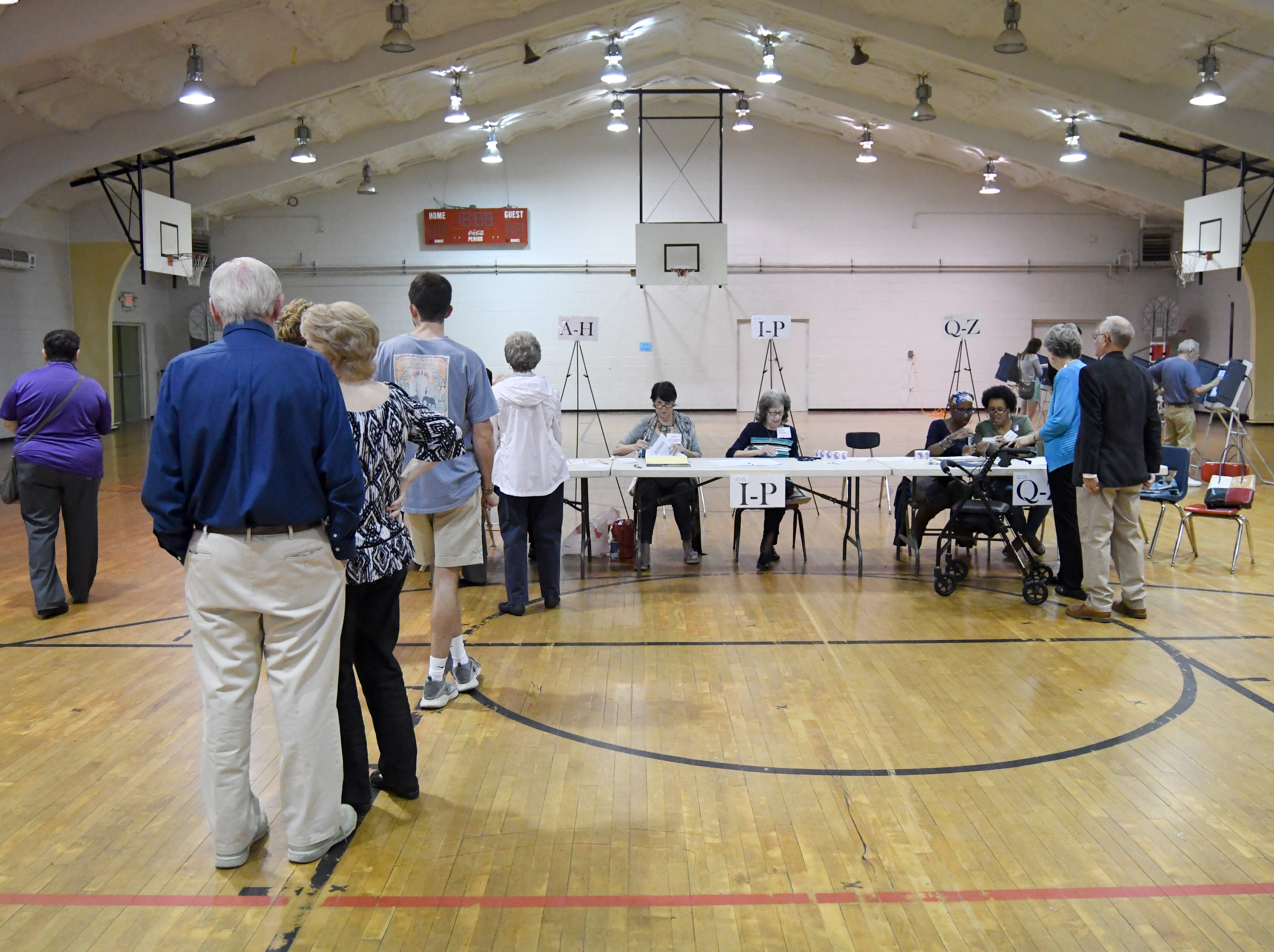 Hattiesburg residents wait to cast their ballot during the midterm elections at the Thames Elementary precinct on Tuesday, November 6, 2018.