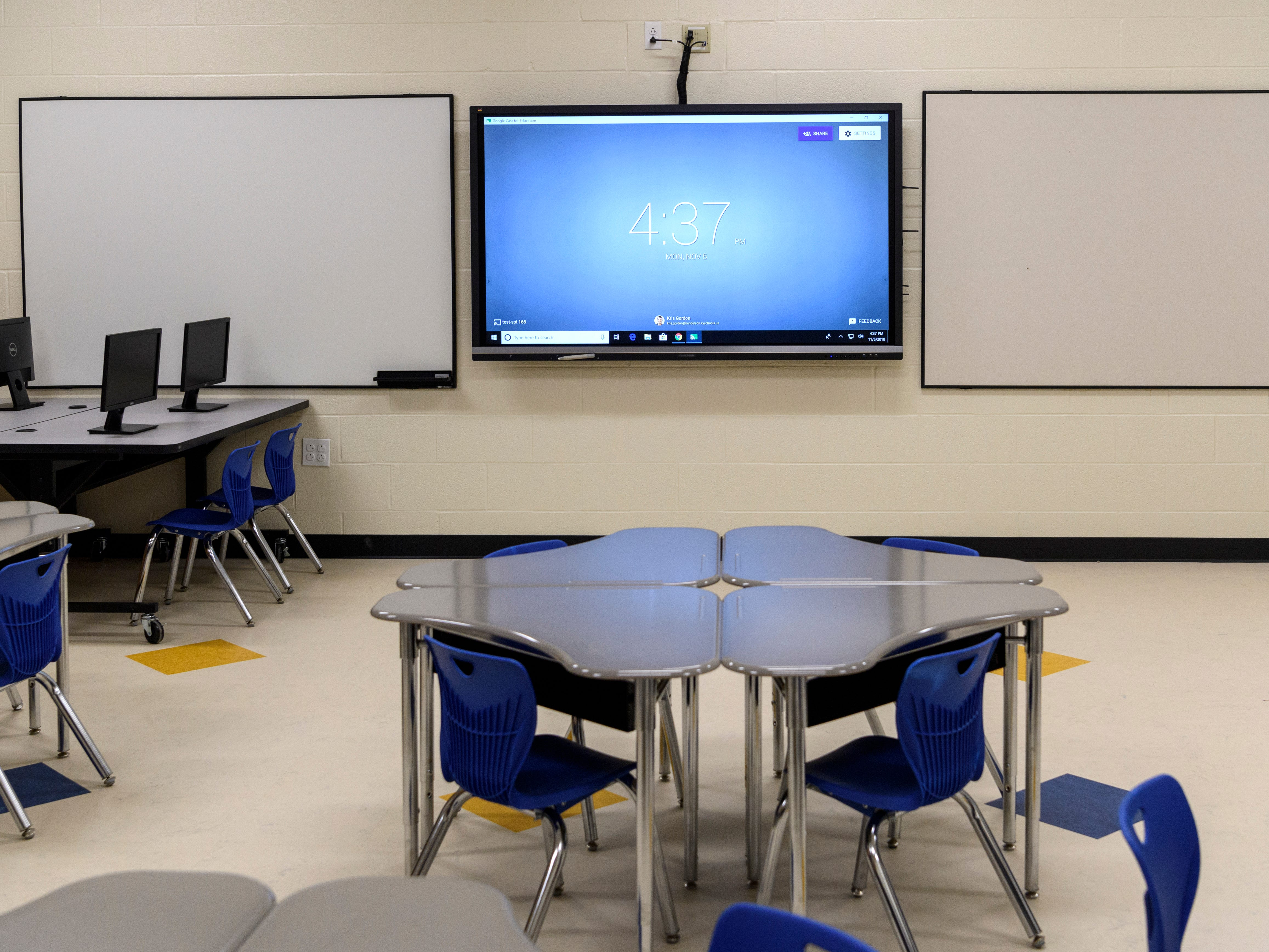 A second grade classroom inside the new Spottsville Elementary school building features state of the art technology such as an interactive viewboard, high density wireless internet and microphones to use during class. There are 30 classrooms to accommodate 700 students.