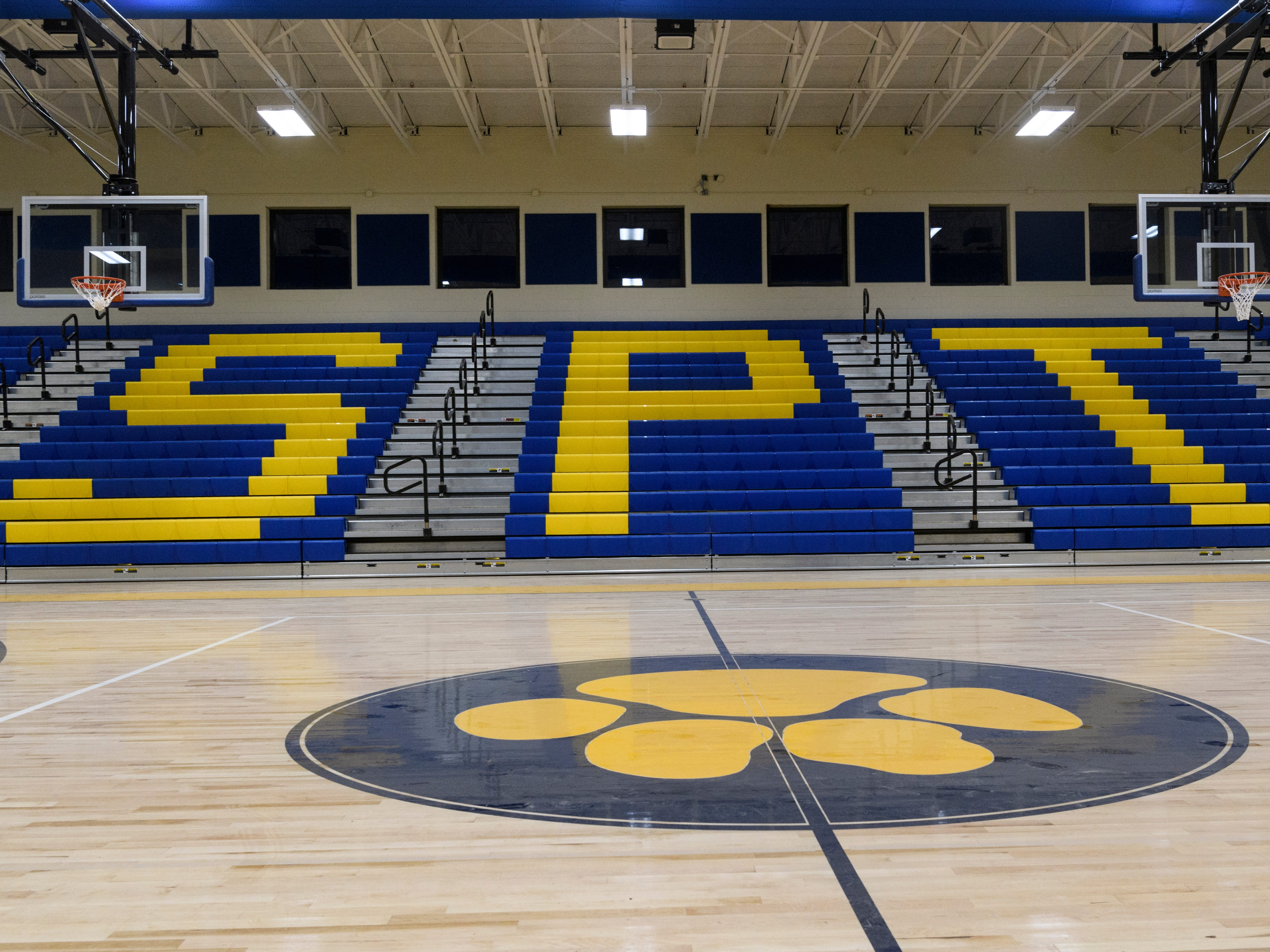 The gymnasium inside the new Spottsville Elementary School building in Henderson County features stadium seating and a stage, not pictured. The school was built to accommodate 700 students with 30 classrooms, an art and music room, two computer labs, four resource rooms and a modern media center.
