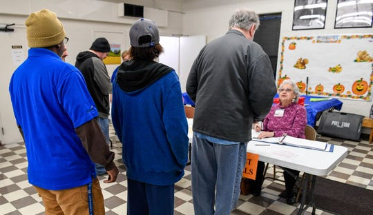 People line up to vote at the at the East and West Bells precincts located in the JFK Center in Henderson Tuesday morning, November 6, 2018.