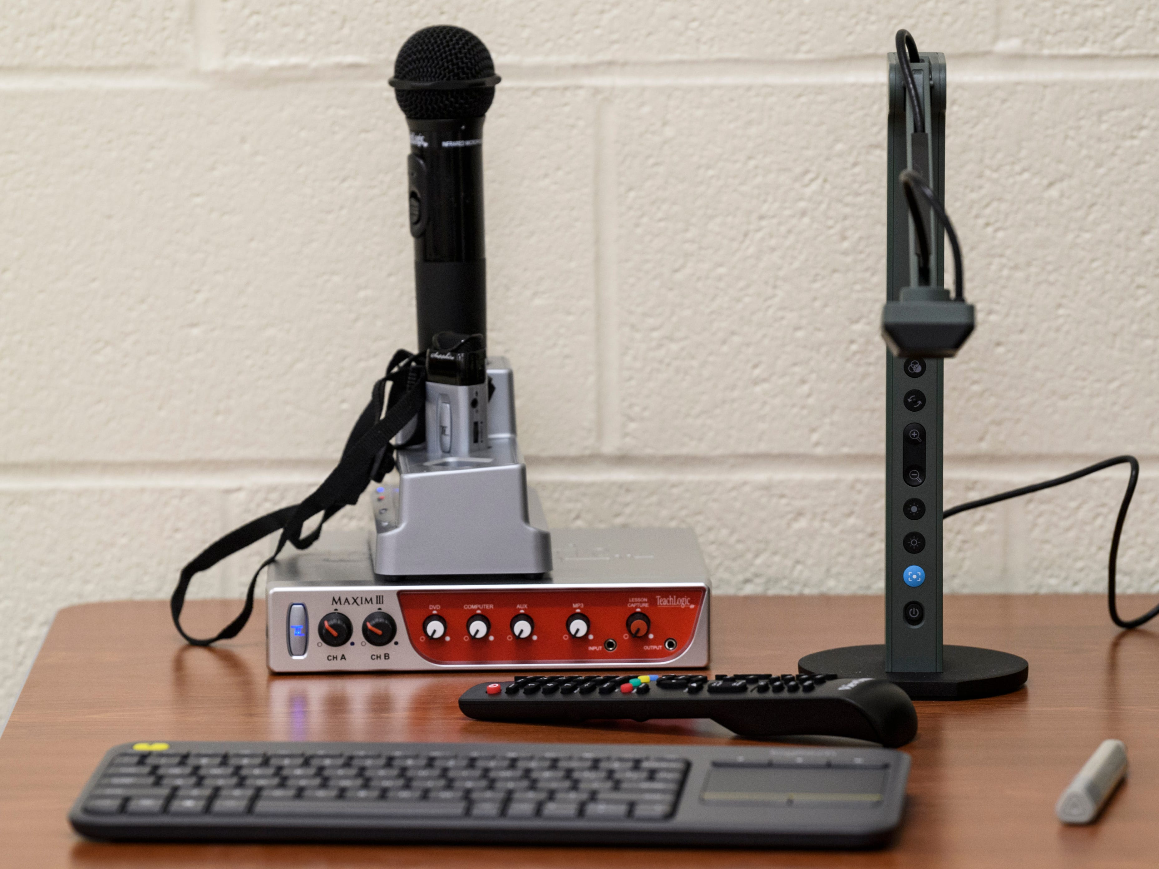 Each of the 30 classrooms features two different microphones for the teacher to use, a document scanner, web cam and high density wireless internet at the new Spottsville Elementary School building in Henderson County, Ky.