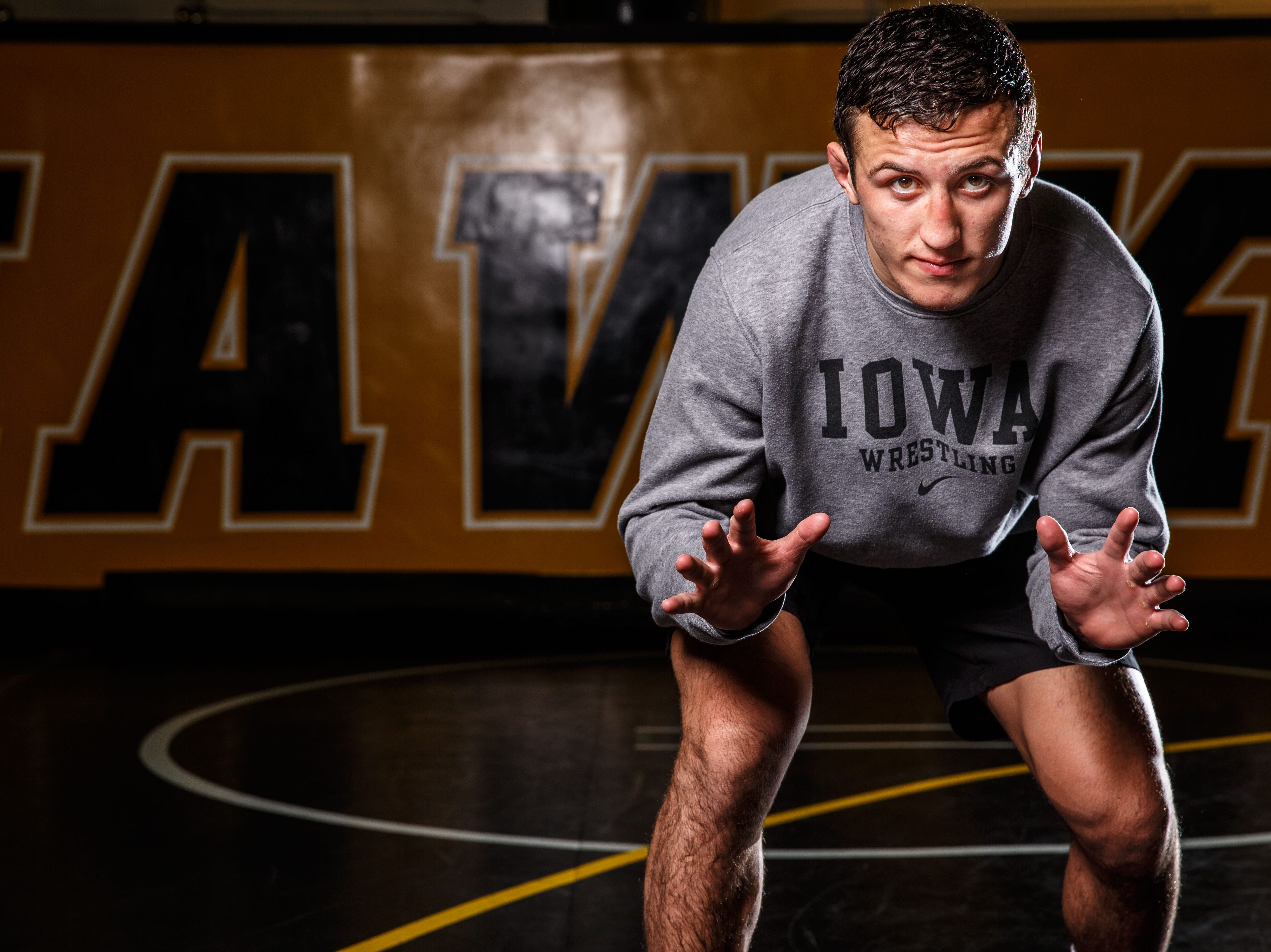 Austin DeSanto stands for a portrait during Iowa wrestling media day Monday, Nov. 5, 2018.