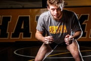 Mitch Bowman stands for a portrait during Iowa wrestling media day Monday, Nov. 5, 2018.