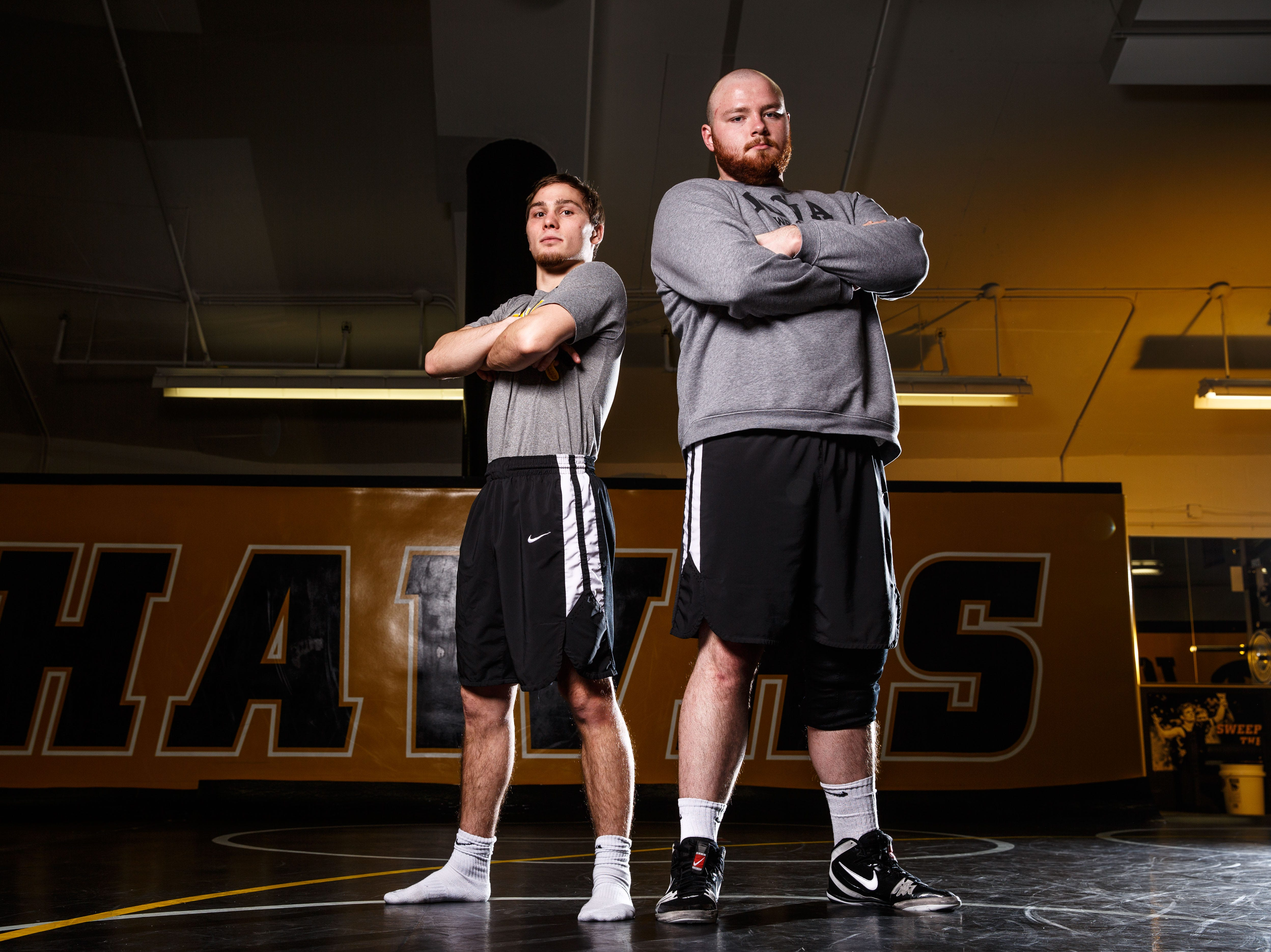 Spencer Lee, left, and Sam Stoll stand for a portrait during Iowa wrestling media day Monday, Nov. 5, 2018.