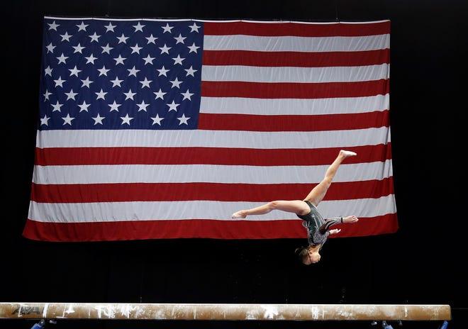 Morgan Hurd competes on the balance beam during the U.S. Gymnastics Championships at TD Garden.