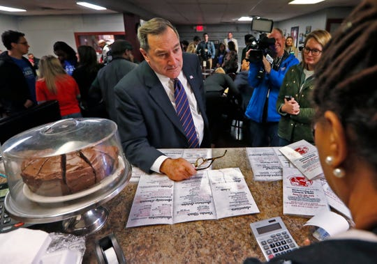 U.S. Senator Joe Donnelly makes his lunch order at Kountry Kitchen, stopping for lunch on election day, Tuesday, Nov. 6, 2018.