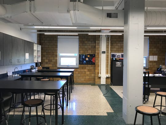 A science classroom at Riverside High School, a former naval armory.