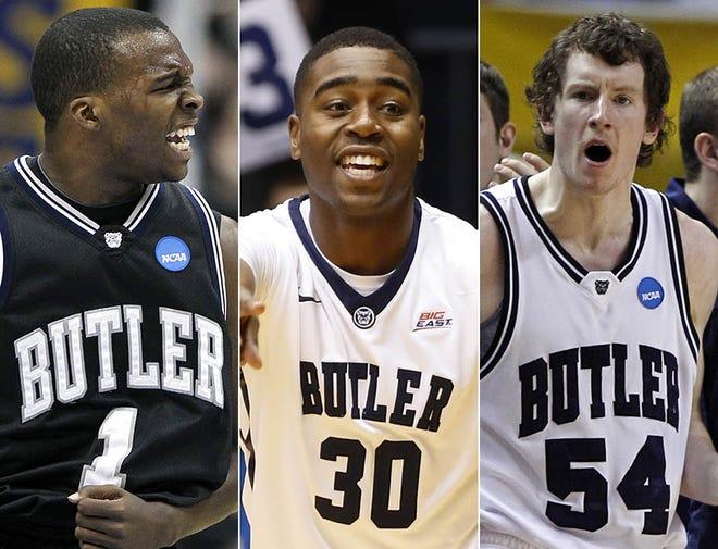 Shelvin Mack (from left), Kelan Martin and Matt Howard, former Butler men's basketball players.