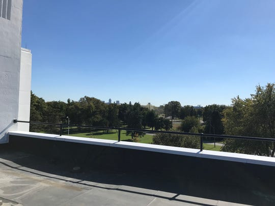 A view of downtown from the roof of Riverside High School, a former naval armory on the White River.
