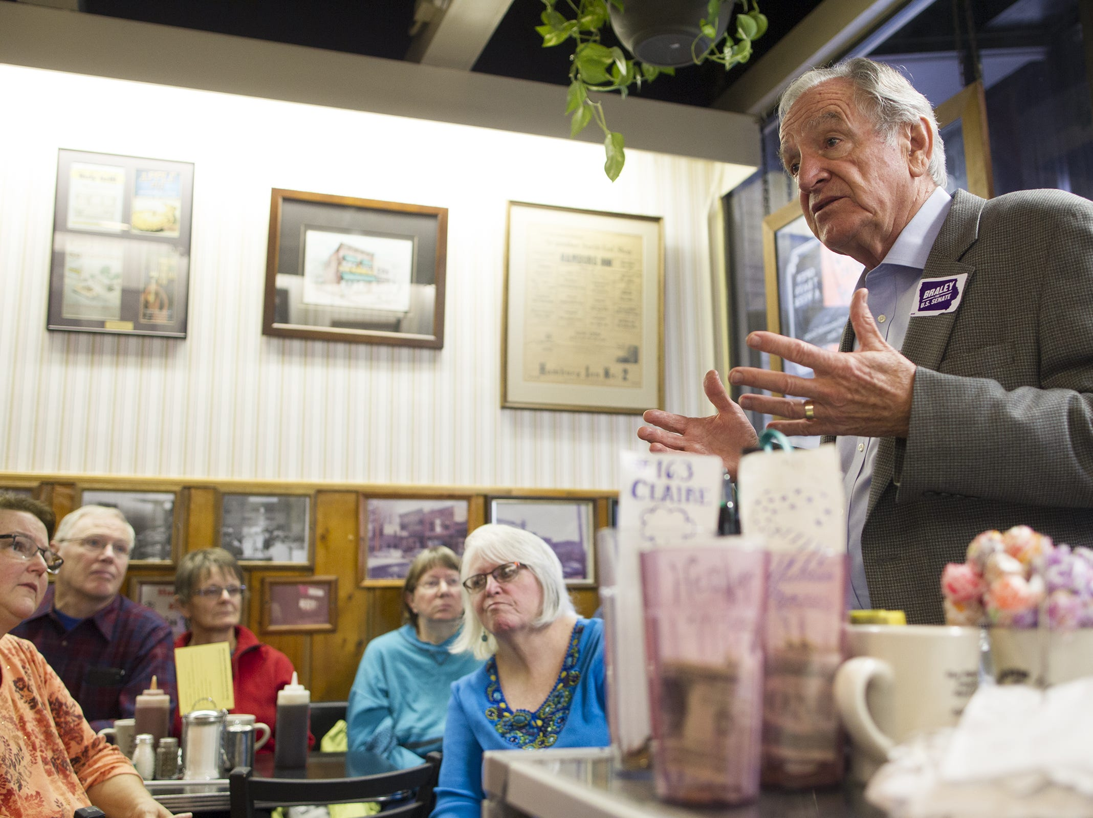 Sen. Tom Harkin, D-Iowa, speaks to guests at Hamburg Inn during a campaign stop for Democratic Senate candidate Bruce Braley on Tuesday, Oct. 14, 2014.
