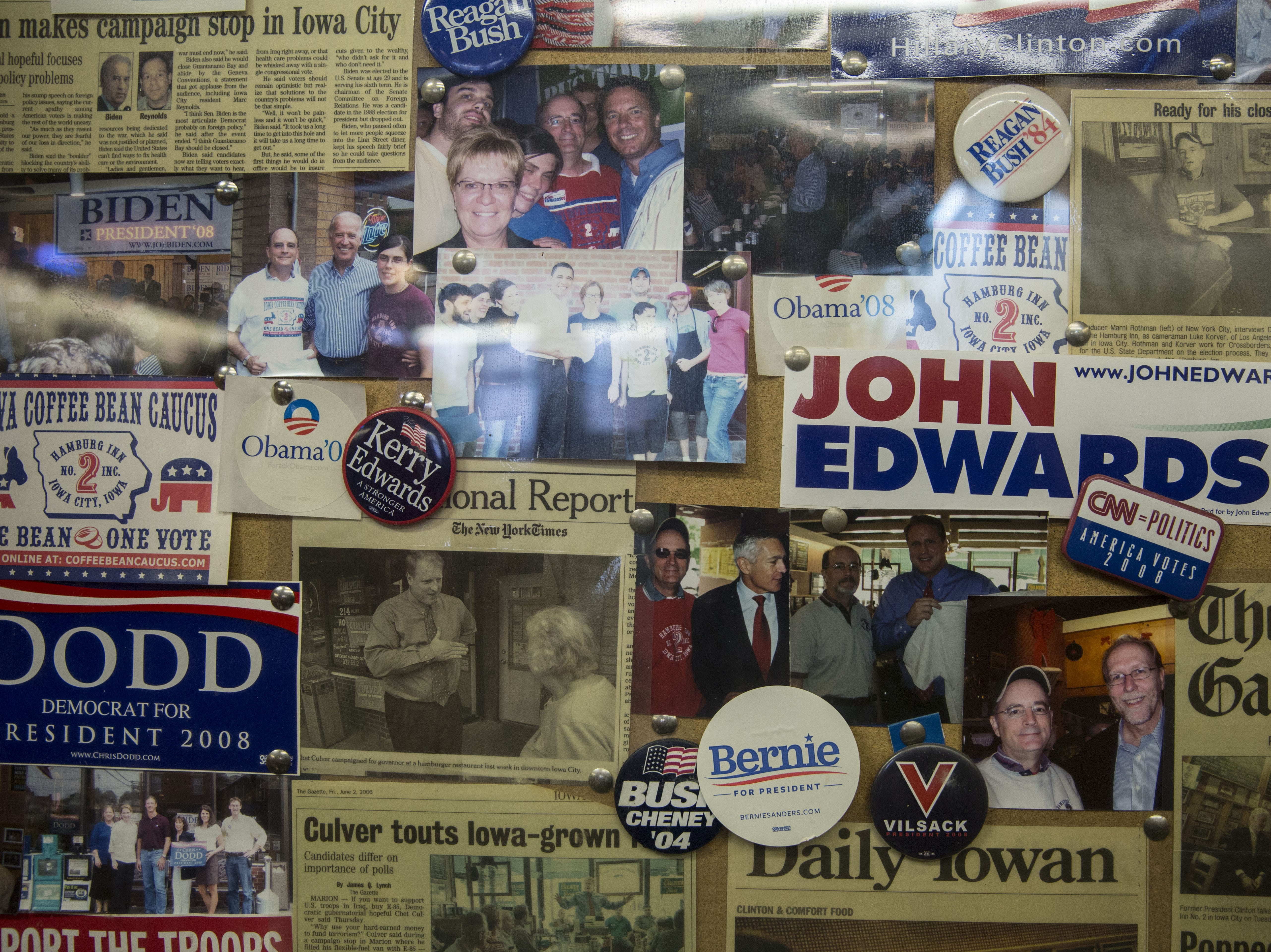 Political buttons and newspaper clippings hang on the wall of the Hamburg Inn No. 2 on Friday. Oct. 6, 2017, in Iowa City. The Hamburg Inn has become a popular place for presidential candidates to visit during caucus season.
