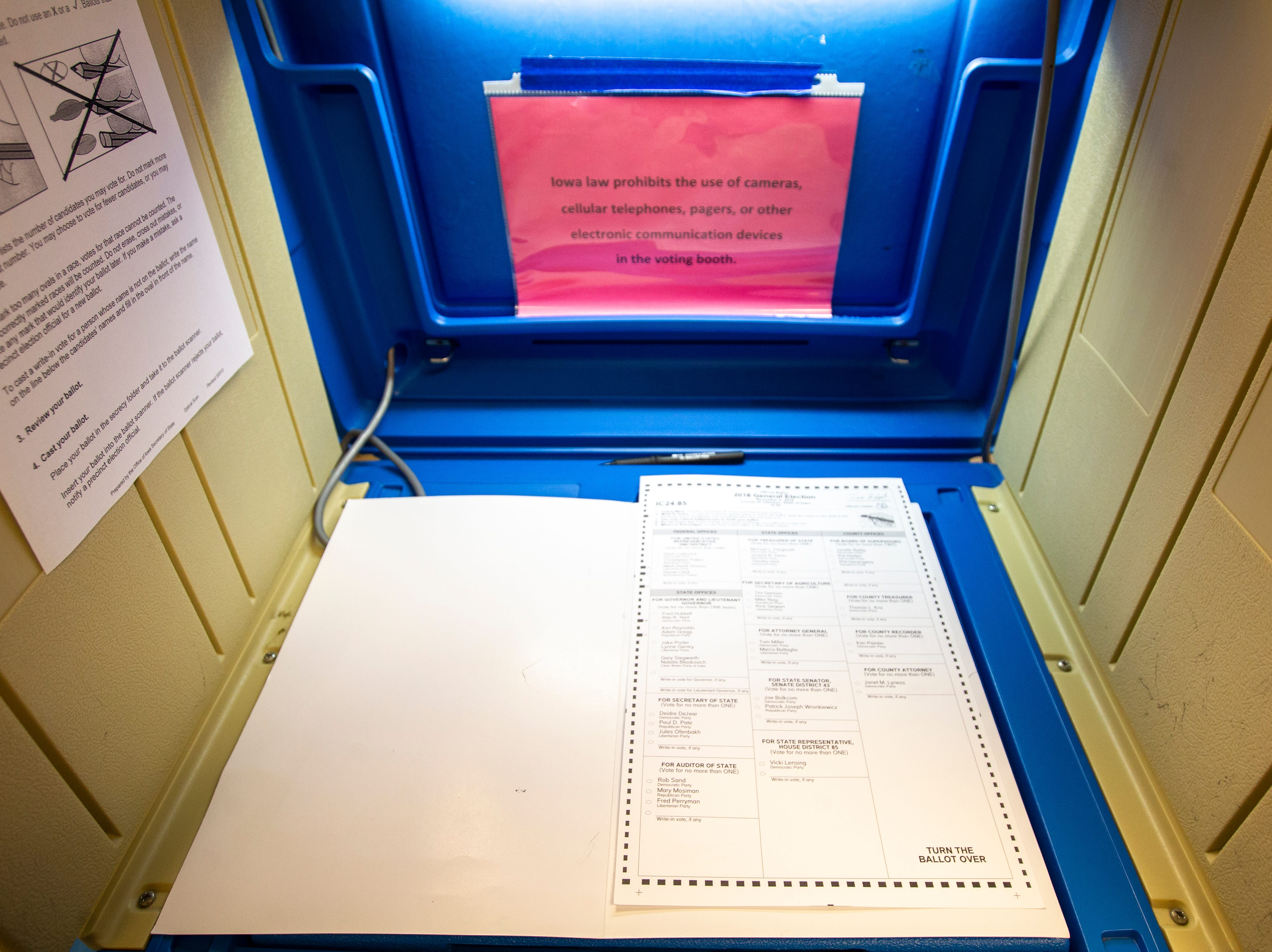 A ballot is seen on Tuesday, Nov. 6, 2018, at St. Patrick's Church in Iowa City.