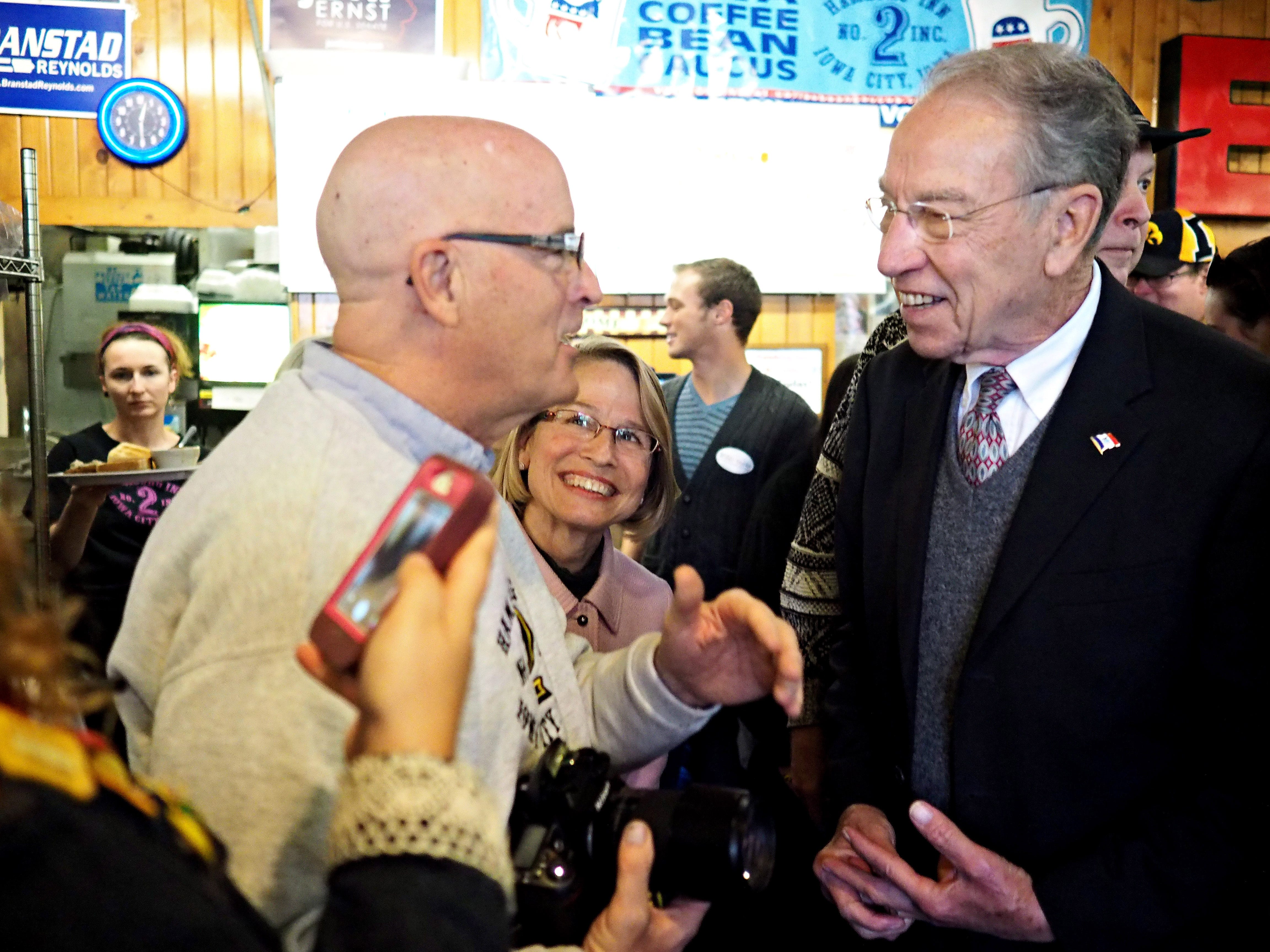 Congressional candidate Marianette Miller-Meeks (center) introduces Hamburg Inn No. 2 owner to Sen. Chuck Grassley at a Meet and Greet held Friday at Oct. 31, 2014.