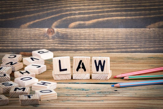 Law Wooden Letters On The Office Desk Informative And Communication Background