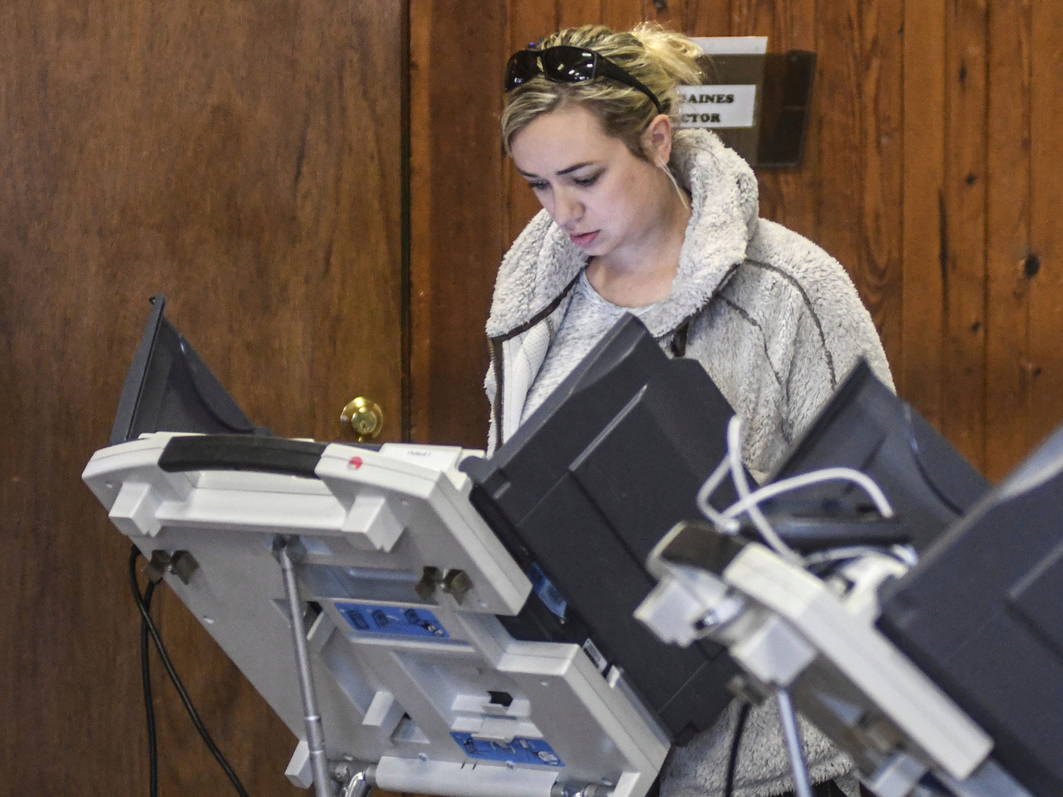 Sarah Seibert votes at the Oxford Community Center in Oxford, Miss., Tuesday, Nov. 6, 2018.
