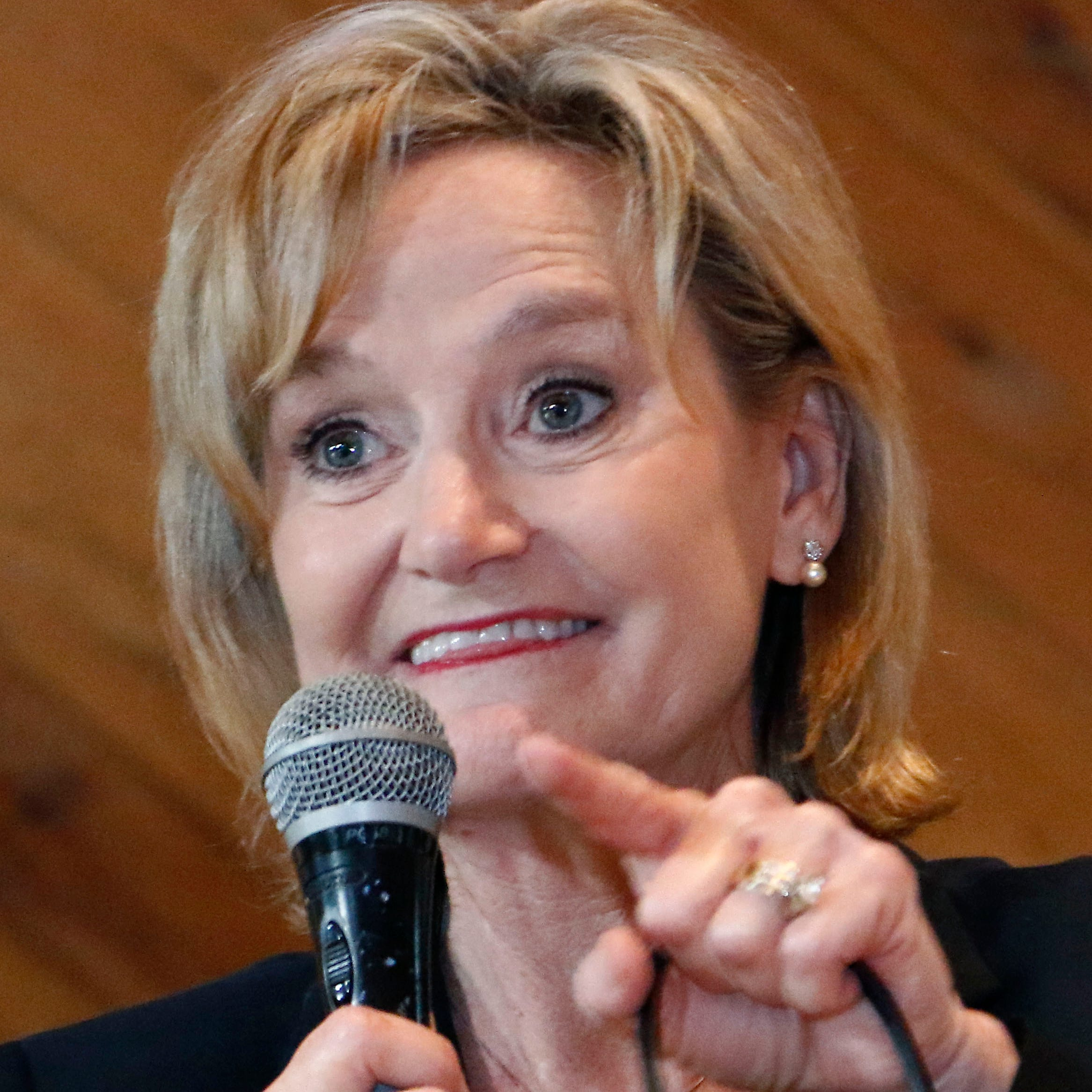 U.S. Sen. Cindy Hyde-Smith, R-Miss., addresses a gathering of supporters in Jackson, Miss., Monday, Nov. 5, 2018. Hyde-Smith hopes to get elected to serve the last two years of the six-year term vacated when Republican Thad Cochran retired for health reasons.