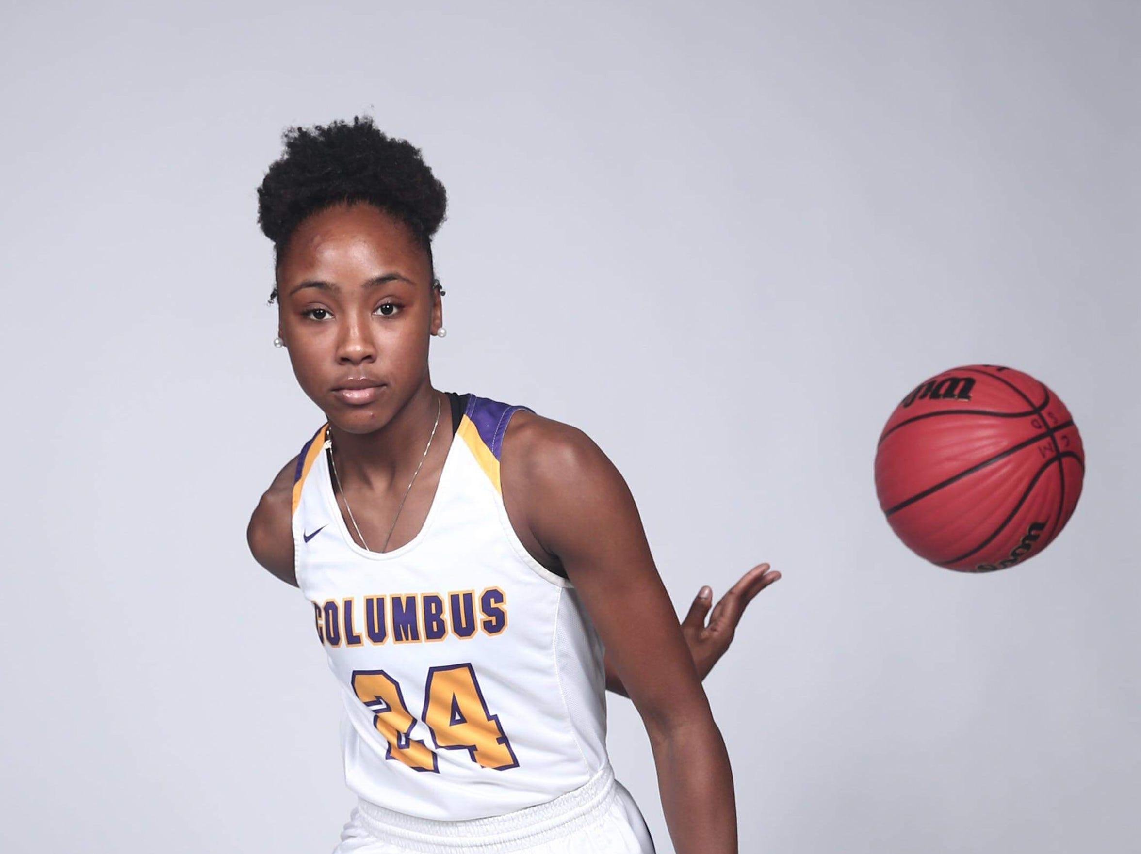 Hannah White, a guard at Columbus, earned a spot on the 2018-19 Dandy Dozen.