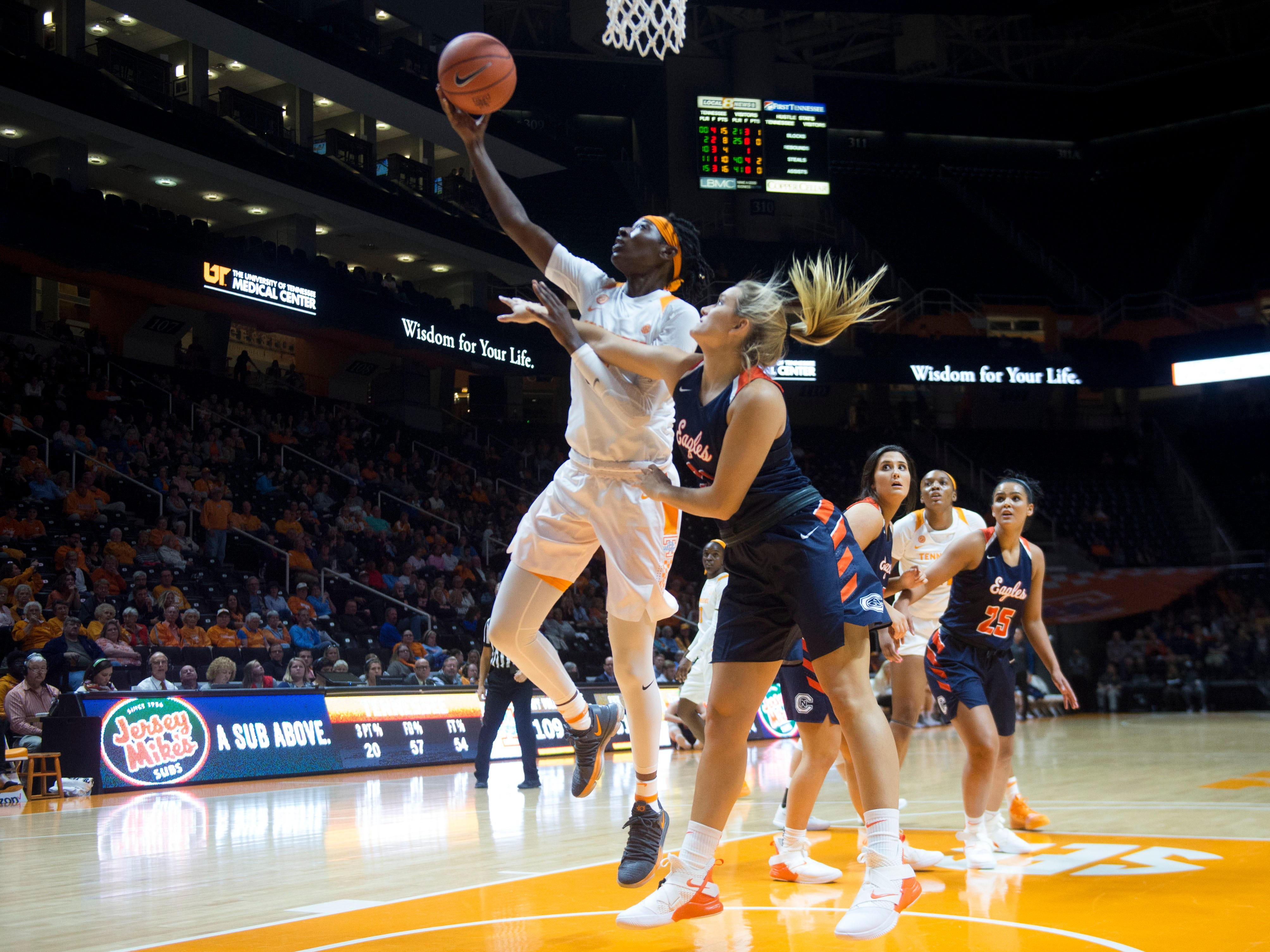 Tennessee's Rennia Davis (0) attempts to score against Carson-Newman's on Monday, November 5, 2018.