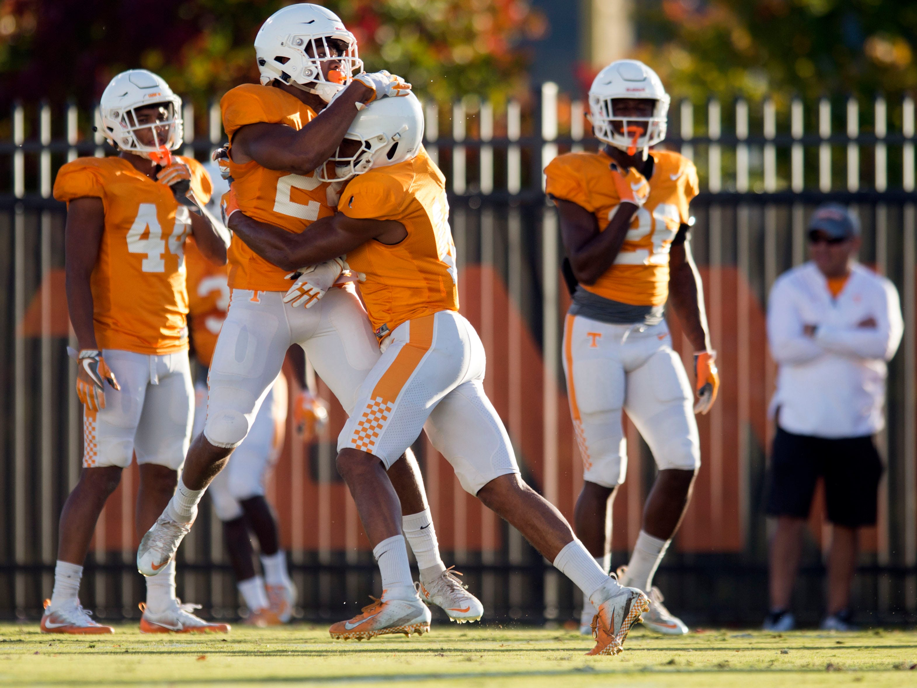 Tennessee defensive backs Nigel Warrior (18) and Todd Kelly Jr. (24) at football practice on Tuesday, November 6, 2018.