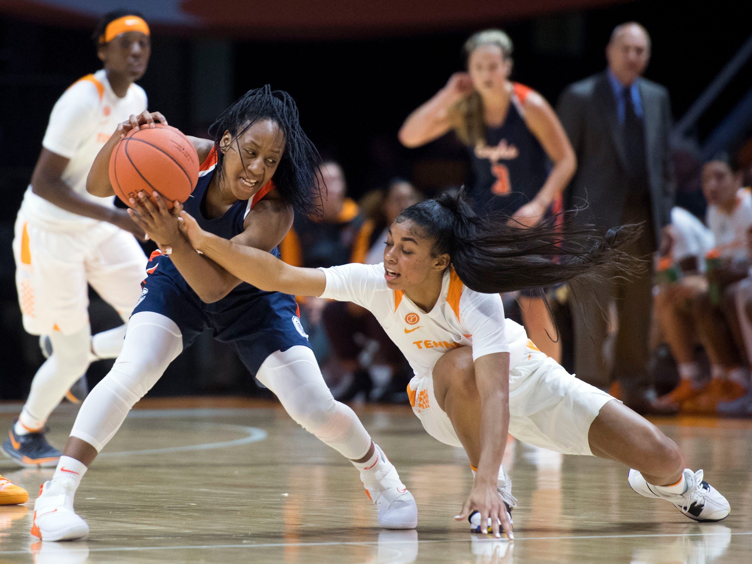 Tennessee's Evina Westbrook defends Carson-Newman's Briana Smith during an exhibition game at Thompson-Boling Arena on Monday, November 5, 2018.
