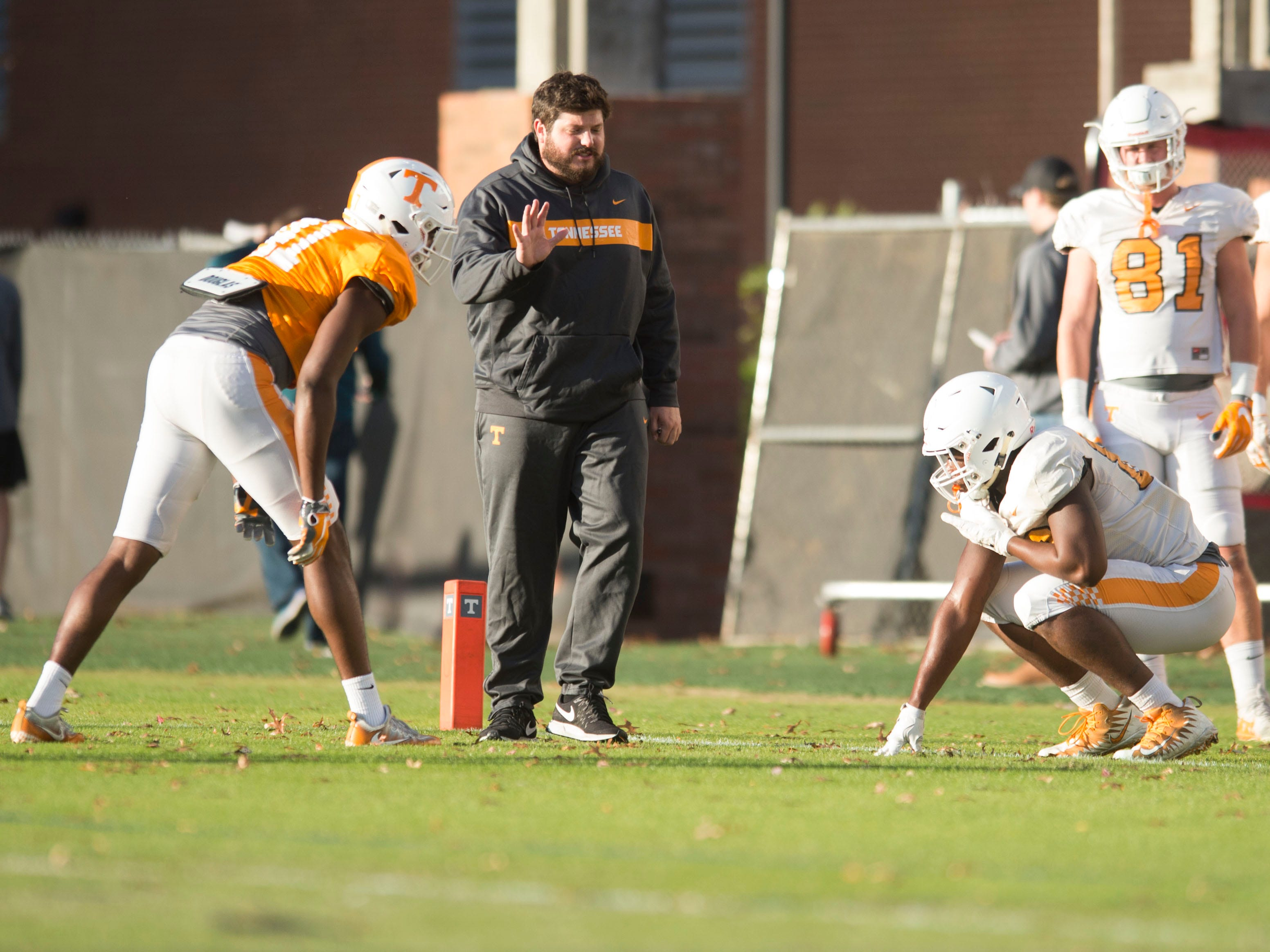 Tennessee Tight Ends Coach Brian Niedermeyer during football practice on Tuesday, November 6, 2018.