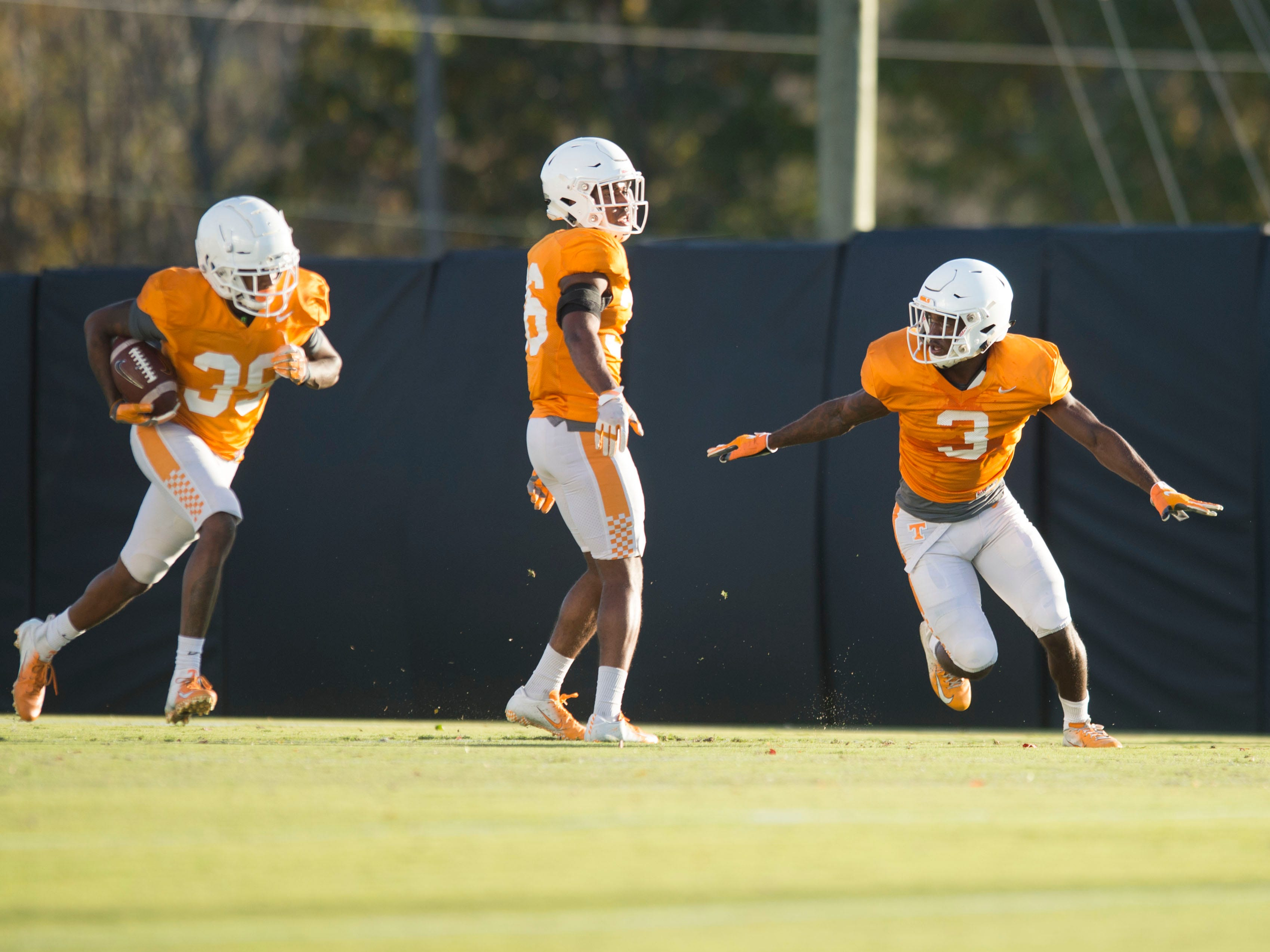 Tennessee defensive backs D.J. Henderson (39), Terrell Bailey (36), and Marquill Osborne (3) at football practice on Tuesday, November 6, 2018.