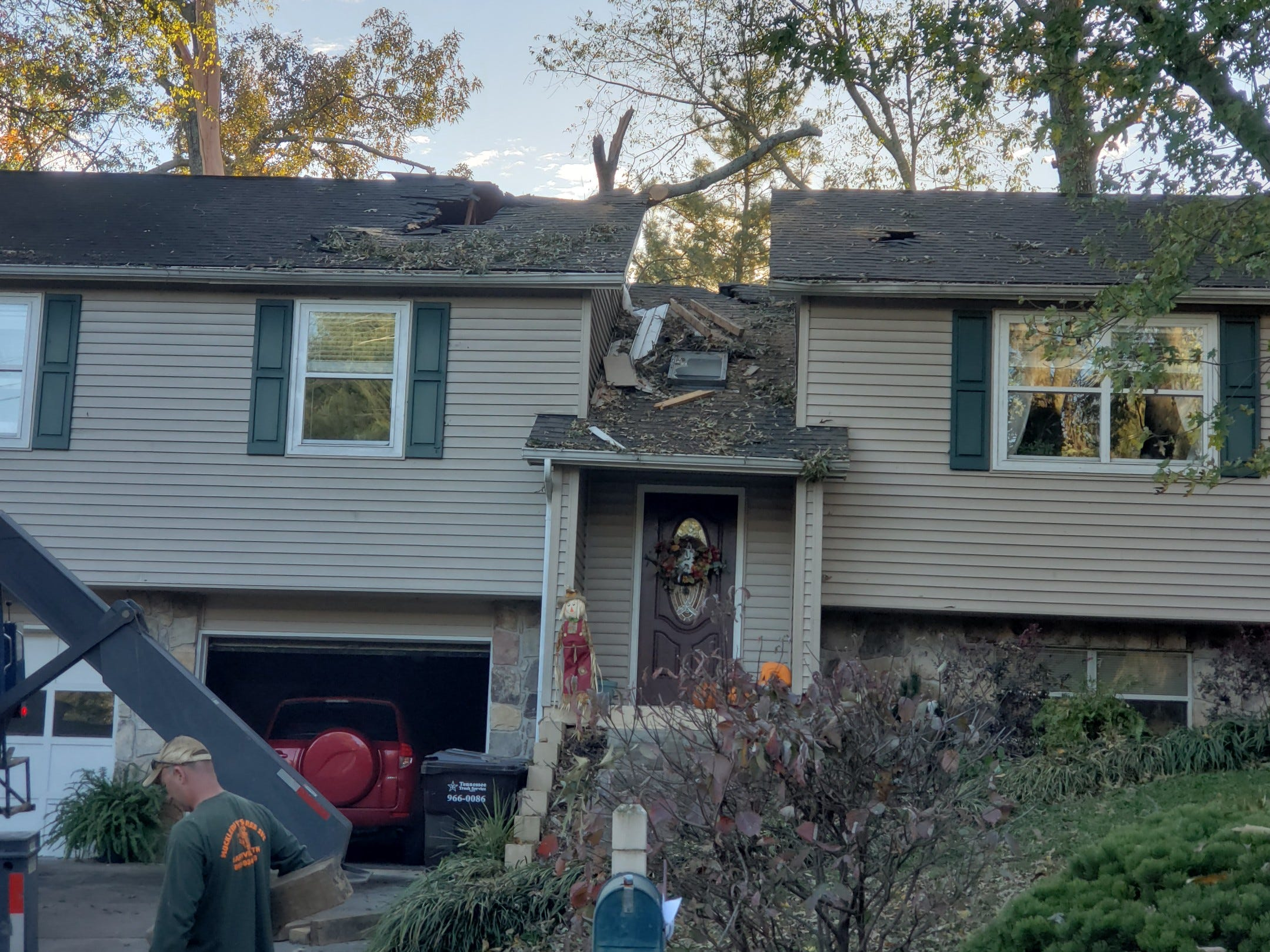 Houses were damages by downed trees in Farragut after early morning storms on Tuesday, Nov. 6, 2018.