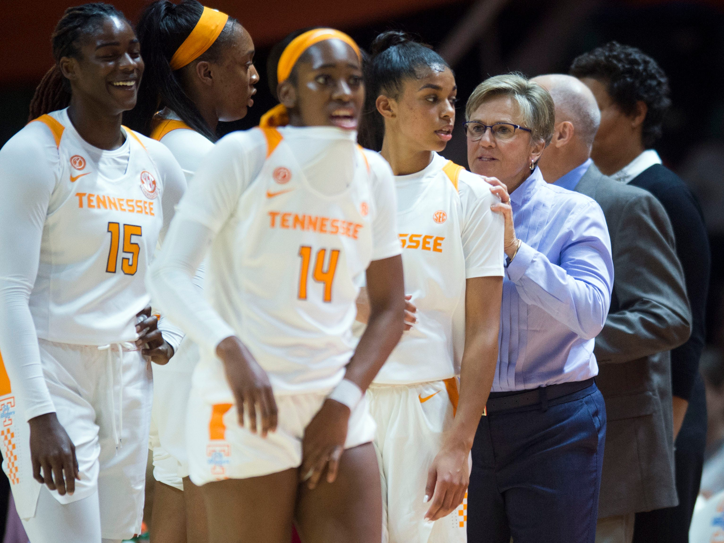 Tennessee head coach Holly Warlick talks with Evina Westbrook (2) during a time in out in the exhibition game against Carson-Newman on Monday, November 5, 2018.