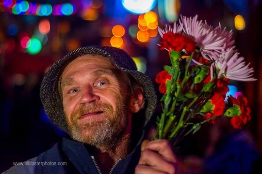 Homeless street performer Rodney Fuson died Nov. 5.