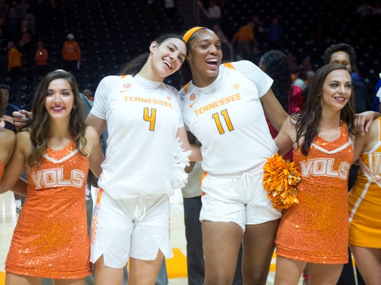Tennessee's Mimi Collins (4) and Kasiyahna Kushkituah (11) celebrate their win over Carson-Newman on Monday, November 5, 2018.