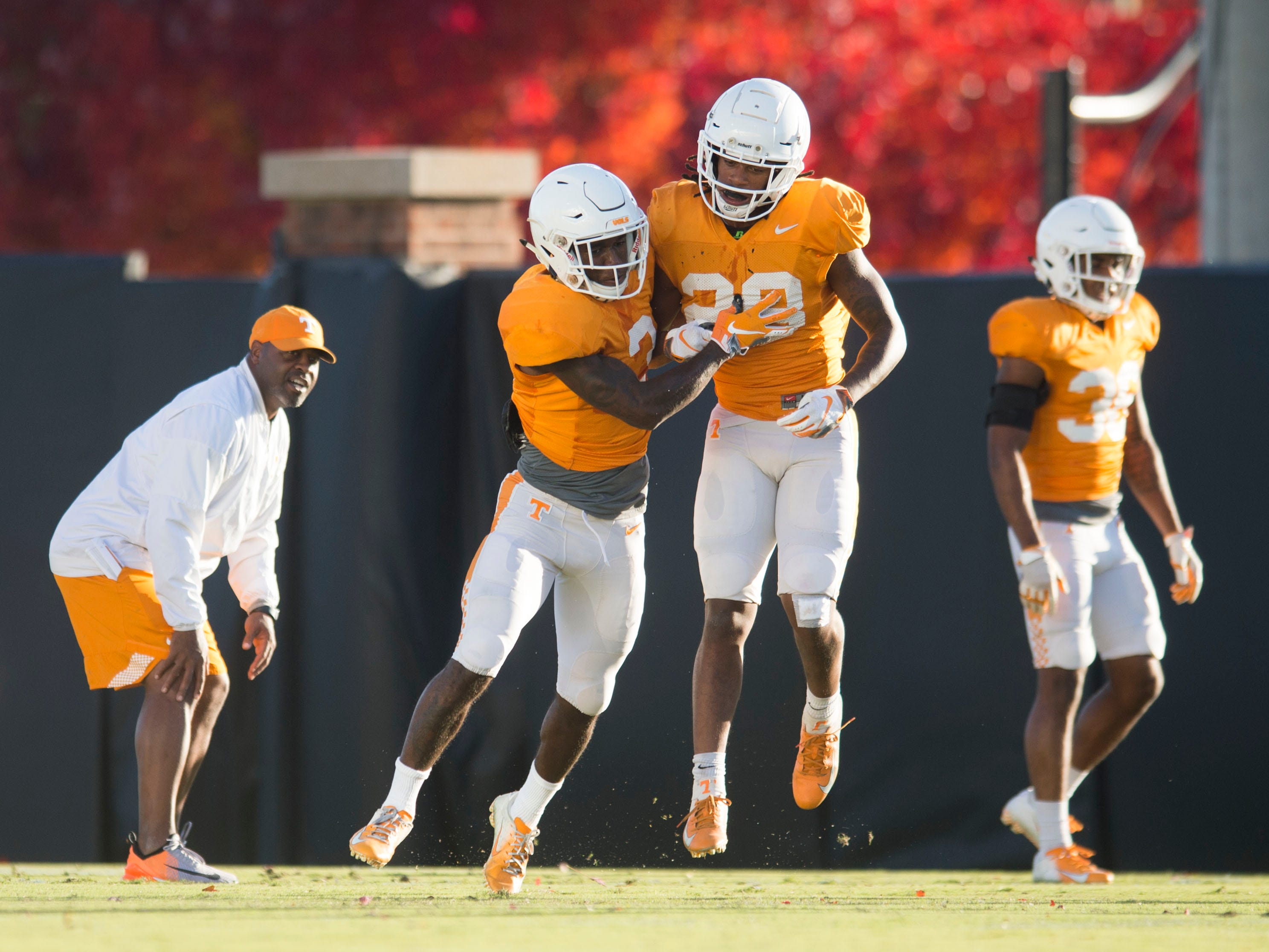 Tennessee defensive backs Marquill Osborne (3) and Baylen Buchanan (28) at football practice on Tuesday, November 6, 2018.