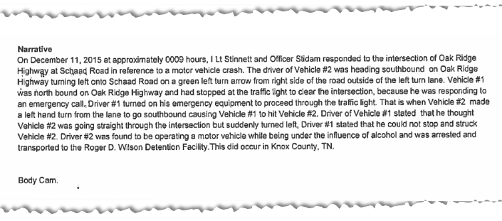 The narrative section of the second crash report says Vehicle #1, David Henderson, stopped at the red light and turned on his emergency lights before Vehicle #2, Kala Lamb, turned left.