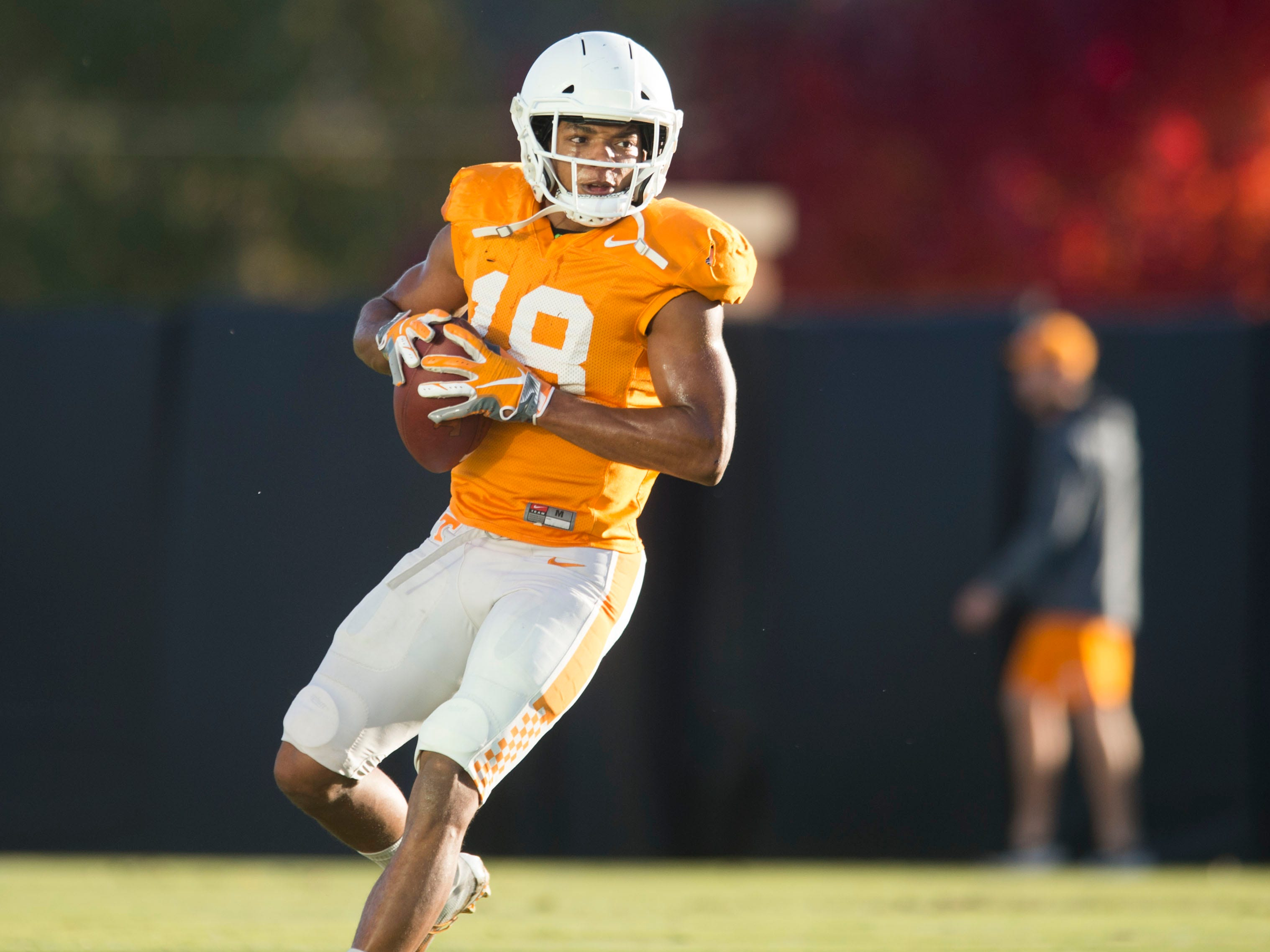 Tennessee defensive back Nigel Warrior (18) at football practice on Tuesday, November 6, 2018.