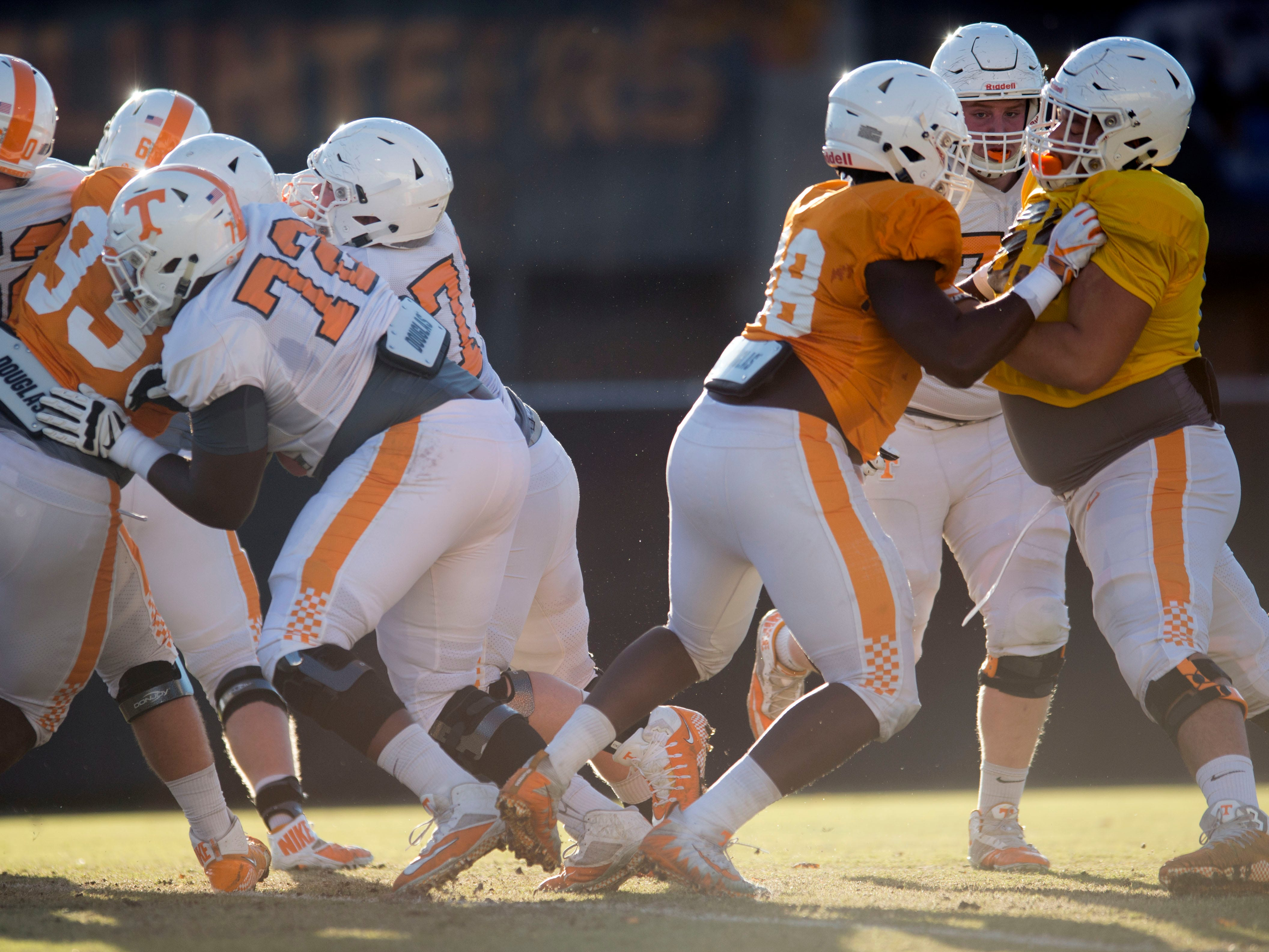 Tennessee defensive linemen run drills at football practice on Tuesday, November 6, 2018.