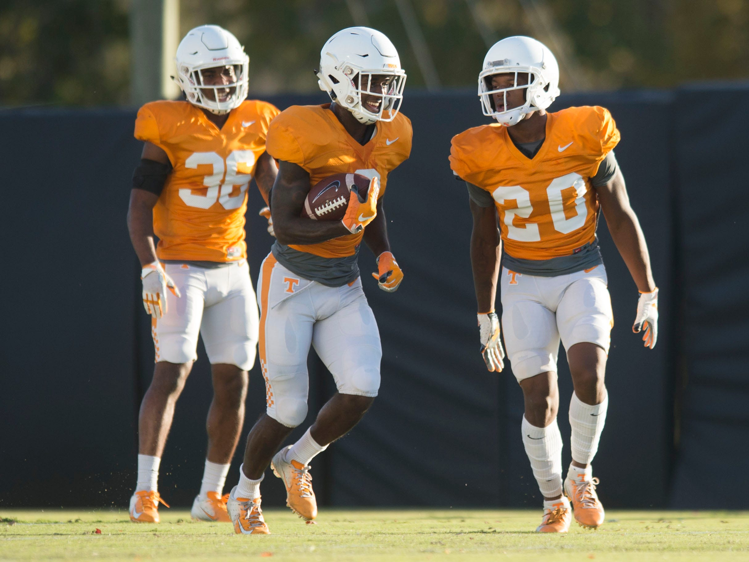 Tennessee defensive back's Terrell Bailey (36), Marquill Osborne (3), and Bryce Thompson (20) at football practice on Tuesday, November 6, 2018.