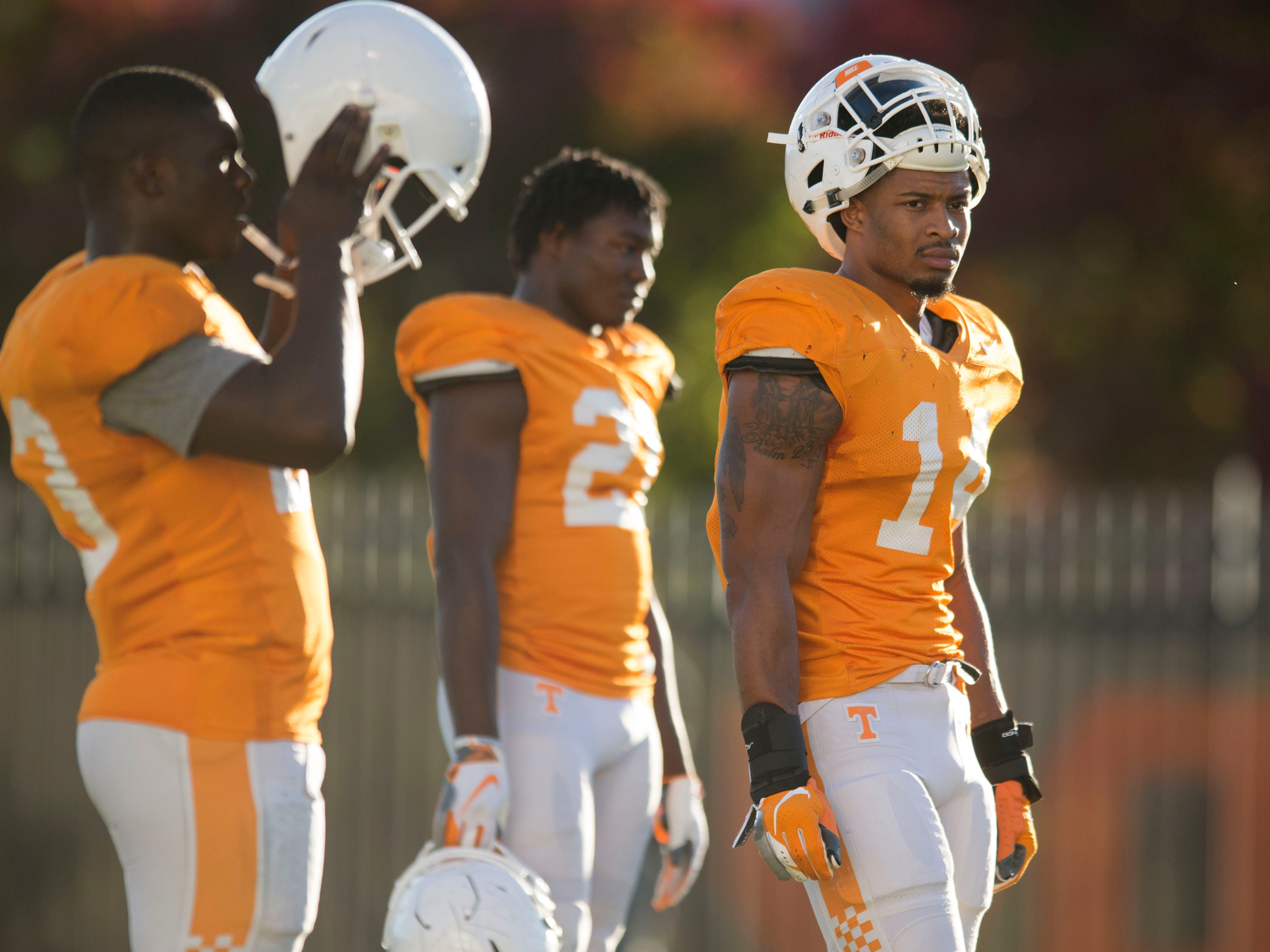 Tennessee linebacker Quart'e Sapp (14) at football practice on Tuesday, November 6, 2018.