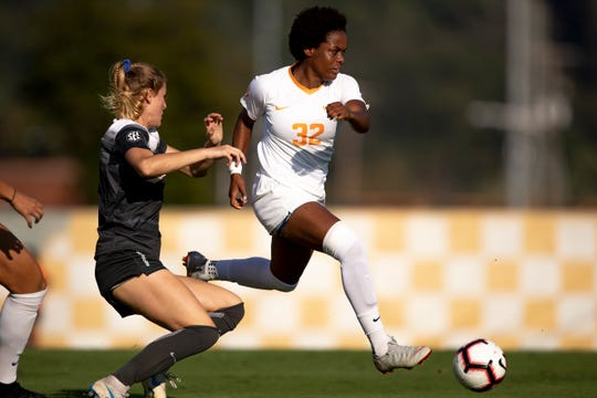 Maya Neal, right, of Tennessee dribbles past a Vanderbilt defender during a game on Oct. 7, 2018, at Regal Soccer Stadium in Knoxville.