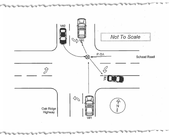 A diagram in the official crash report for the wreck involving David Henderson and Kala Lamb.