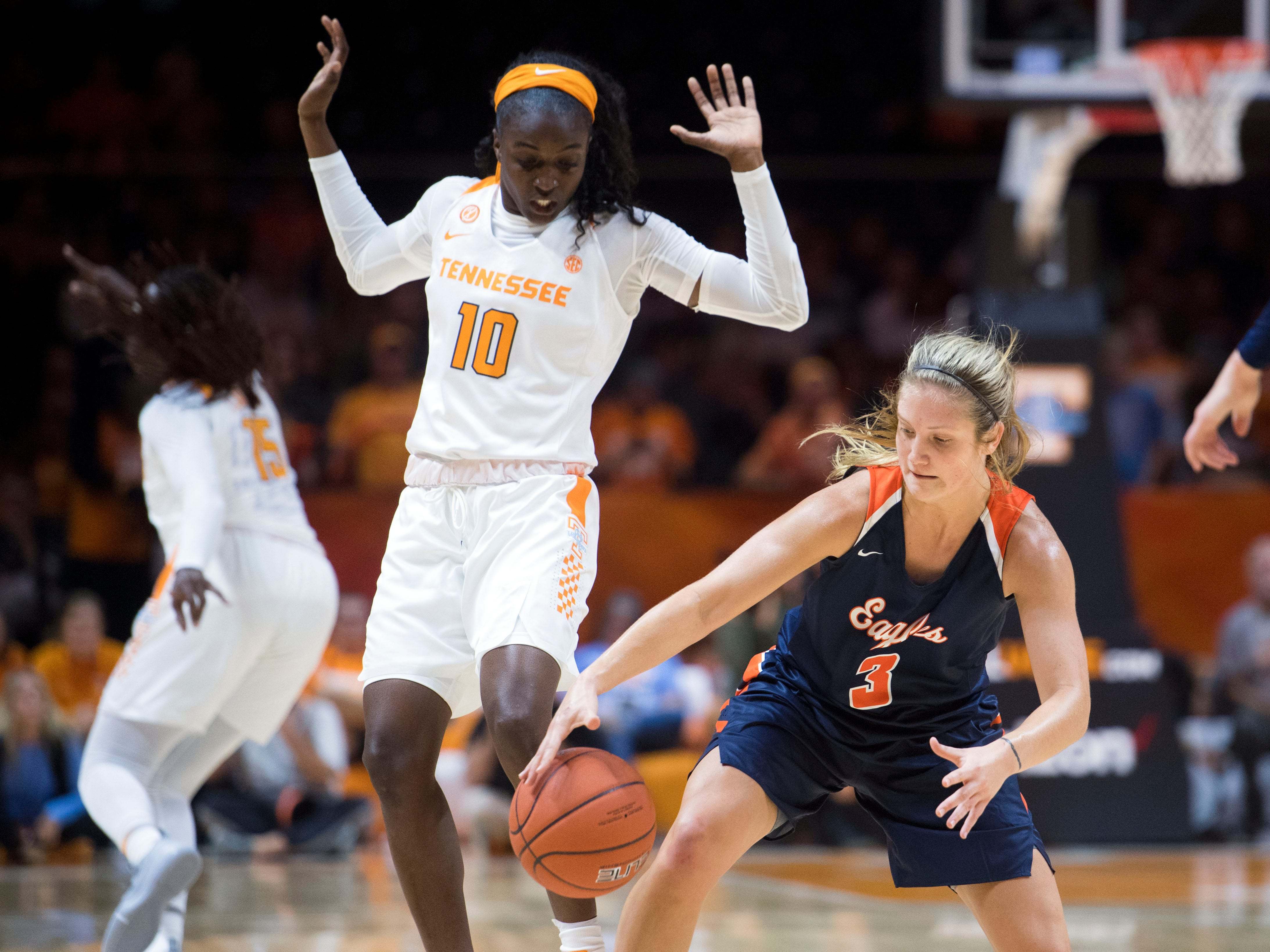 TennesseeÕs Meme Jackson (10) defends Carson-Newman's Addison Byrd (3) during an exhibition game at Thompson-Boling Arena on Monday, November 5, 2018.